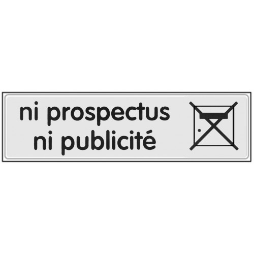 Plaquette Plexiglas Classique Argent - Ni Prospectus Ni Publicité
