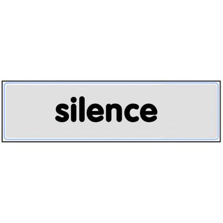 Plaquette plexiglas classique argent - Silence