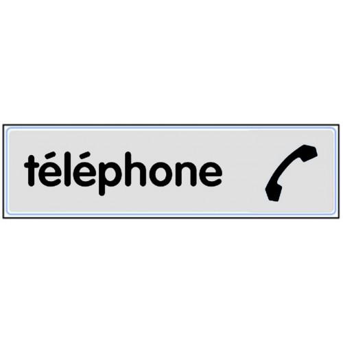 Plaquette Plexiglas Classique Argent - Téléphone - Pictogramme à droite