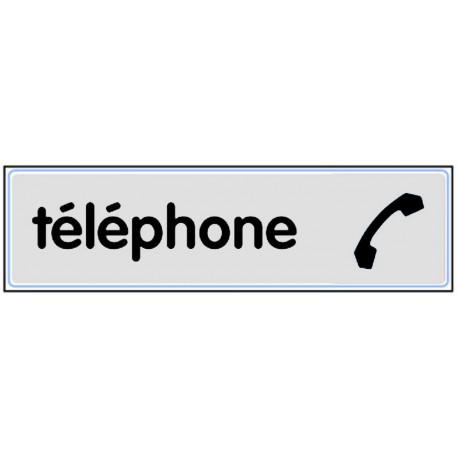Plaquette plexiglas classique argent - Téléphone