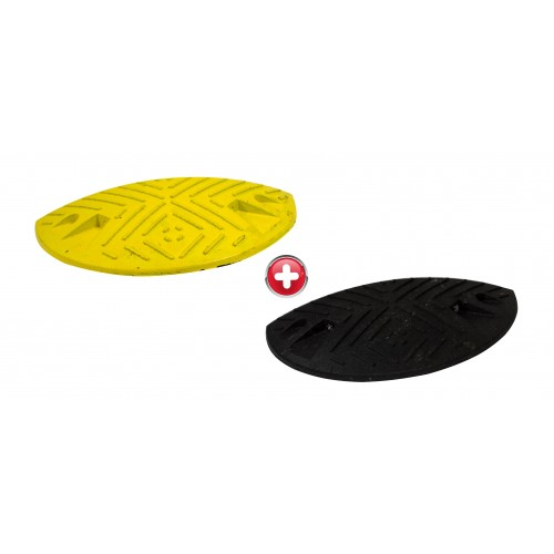 Ralentisseur parking - kit de 2 modules 50 mm 1/2 ronds noirs et jaunes