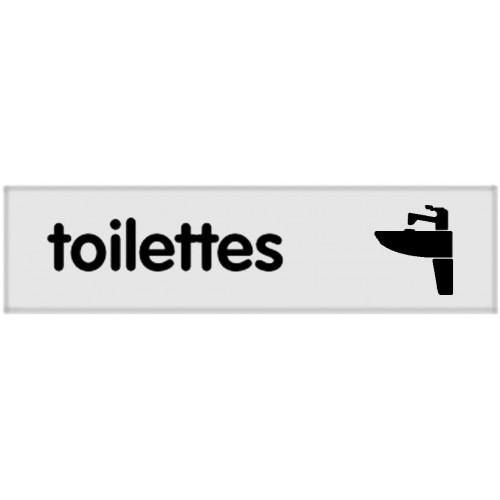 Plaquette Plexiglas Classique Argent - Toilettes - Pictogramme à droite