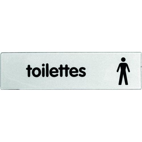 Plaquette Plexiglas Classique Argent - Toilettes Hommes - Pictogramme à droite