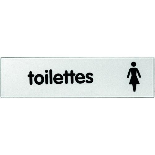 Plaquette Plexiglas Classique Argent - Toilettes Dames - Pictogramme à droite