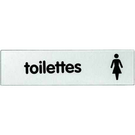 Plaquette plexiglas classique argent - Toilettes dames