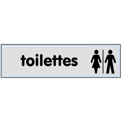 Plaquette Plexiglas Classique Argent - Toilettes - Pictogramme mixte