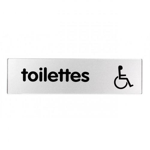Plaquette Plexiglas Classique Argent - Toilettes Handicapés