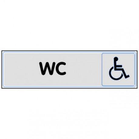 Plaquette plexiglas classique argent - WC handicapés