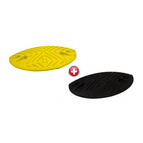 Ralentisseur parking - kit de 2 modules 60 mm 1/2 ronds noirs et jaunes