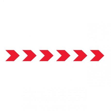 Bandes adhésives pour repérage des portes vitrées 100 mm - chevrons rouge