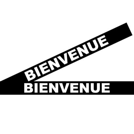 """Bandes adhésives pour repérage des portes vitrées 100 mm - """"Bienvenue"""" noir"""