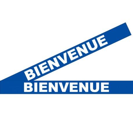 """Bandes adhésives pour repérage des portes vitrées 100 mm - """"Bienvenue"""" bleu"""