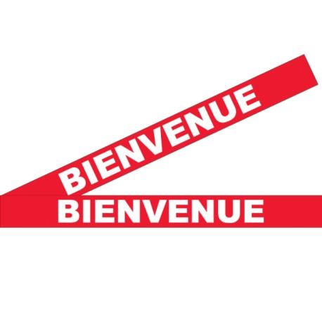 """Bandes adhésives pour repérage des portes vitrées 100 mm - """"Bienvenue"""" Rouge"""