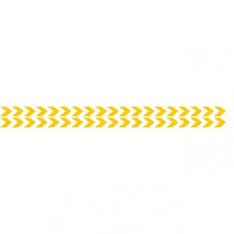 Bandes adhésives pour repérage des portes vitrées 100 mm - Double chevrons Jaune