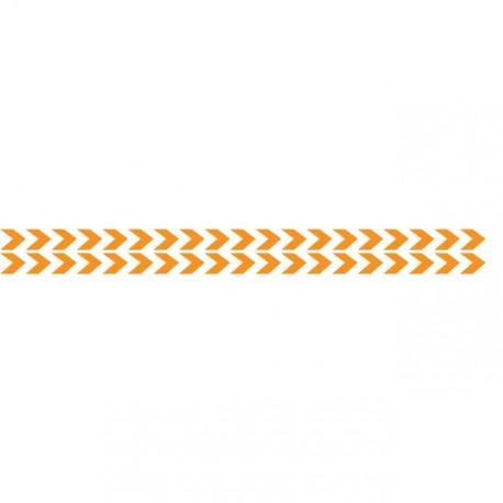 Bandes adhésives pour repérage des portes vitrées 100 mm - Double chevrons Orange