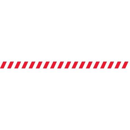 Bandes adhésives pour repérage des portes vitrées 52 mm - Hachures rouge