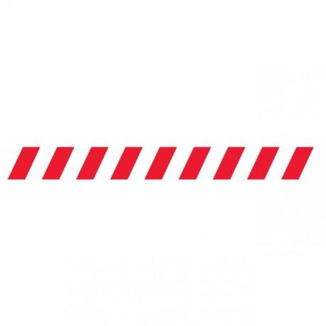 Bandes adhésives pour repérage des portes vitrées 100 mm - Hachures rouge