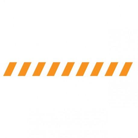 Bandes adhésives pour repérage des portes vitrées 100 mm - Hachures orange