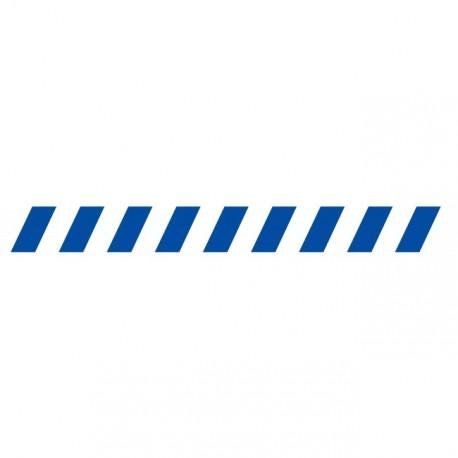 Bandes adhésives pour repérage des portes vitrées 100 mm - Hachures bleu