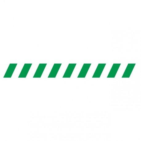 Bandes adhésives pour repérage des portes vitrées 100 mm - Hachures Vert