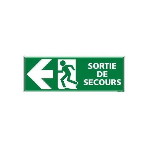 Panneau SORTIE DE SECOURS GAUCHE alu 350 x 125 mm